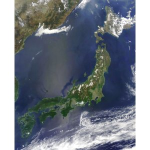 絵画風 壁紙ポスター  日本列島 地理 地図 地球 人工衛星 キャラクロ ERT-006S1 (585mm×726mm)|real-inter
