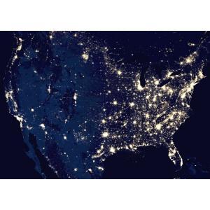 絵画風 壁紙ポスター  アメリカ合衆国 北アメリカ大陸 人口密度 地球 人工衛星 キャラクロ ERT-007A2 (A2版 594mm×420mm)|real-inter