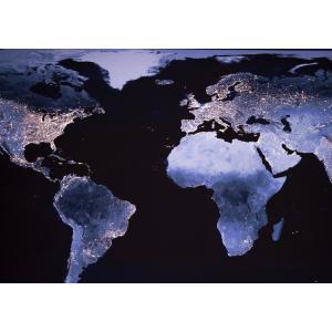 絵画風 壁紙ポスター  欧米 大陸 人口密度 地球 人工衛星 キャラクロ ERT-008A1 (A1版 830mm×585mm)|real-inter