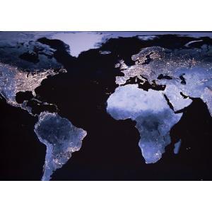 絵画風 壁紙ポスター  欧米 大陸 人口密度 地球 人工衛星 キャラクロ ERT-008A2 (A2版 594mm×420mm)|real-inter