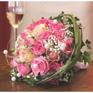 絵画風 壁紙ポスター  ピンクのバラのブーケ ウェディング フラワーアレンジ 花 花束 結婚式 キャラクロ FBQT-006S1 (610mm×594mm)|real-inter
