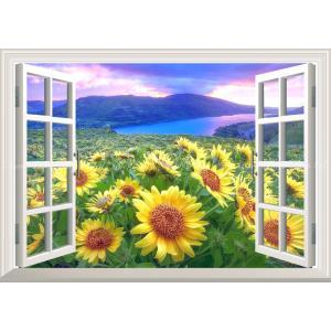 絵画風 壁紙ポスター  -窓の景色- ひまわり畑と大河と夕焼け雲の鮮やかなコントラスト 【窓仕様】 キャラクロ FHMW-010MA2 (A2版 594mm×420mm)|real-inter
