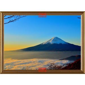 絵画風 壁紙ポスター 天晴れの富士山と雲海 富士山 ふじやま 【額縁印刷】 キャラクロ FJS-001SGB2 (594mm×436mm)|real-inter