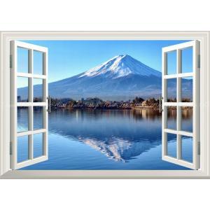 絵画風 壁紙ポスター  -窓の景色- 逆さ富士 富士山 河口湖 鏡の湖面 【窓仕様】 キャラクロ F...