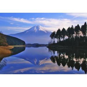 絵画風 壁紙ポスター  逆さ富士 富士山と湖畔の森 田貫湖 キャラクロ FJS-018A2 (A2版 594mm×420mm)|real-inter