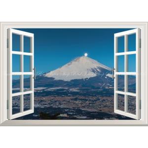 絵画風 壁紙ポスター  -窓の景色- パール富士 月夜の富士山と富士山麓 満月 月 【窓仕様】 キャ...