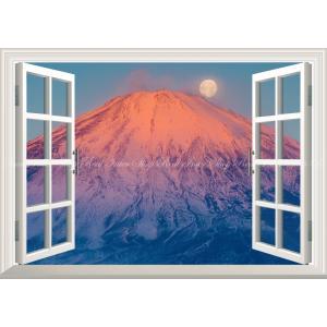 絵画風 壁紙ポスター  -窓の景色- 赤富士&パール富士 夕焼けの富士山と山頂のスーパームーン 満月...