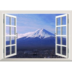 絵画風 壁紙ポスター  -窓の景色- 冬晴れの富士山と流れ雲 表富士 富士山 ふじやま 【窓仕様】 ...