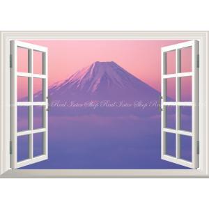 絵画風 壁紙ポスター  -窓の景色- 紅富士 夕焼けの富士山と霧の雲海 赤富士 【窓仕様】 キャラク...