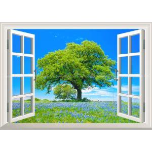 絵画風 壁紙ポスター  -窓の景色- ムスカリの花 青空と大木と花畑 ブドウヒヤシンス 【窓仕様】 キャラクロ FLGD-005MA2 (A2版 594mm×420mm)|real-inter