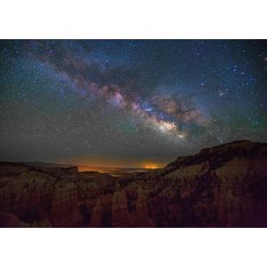絵画風 壁紙ポスター  天の川 ブライスキャニオン ユタ州 おとぎの国峡谷 天体 宇宙 神秘 キャラクロ GLXY-003A2 (A2版 594mm×420mm)|real-inter