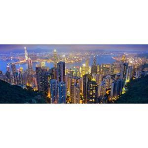 絵画風 壁紙ポスター  香港 100万ドルの夜景 パノラマ夜景 ホンコン Hong-Kong キャラクロ HKN-102P1 (パノラマ版 1440mm×576mm)|real-inter