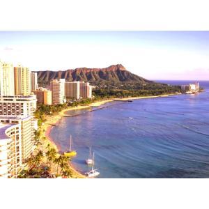 絵画風 壁紙ポスター (はがせるシール式) ハワイ ワイキキ ビーチ ダイヤモンドヘッド 海 キャラクロ HWI-001A2 (A2版 594mm×420mm)