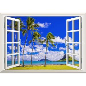 絵画風 壁紙ポスター  -窓の景色- ハワイ オアフ島&チャイナマンズ・ハット(モリコイ) カハナ ...