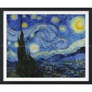 絵画風 壁紙ポスター  フィンセント ファン ゴッホ 星月夜 1889年 ニューヨーク近代美術館 【額縁印刷】 キャラクロ K-GOH-005SGF1 (701mm×585mm)|real-inter