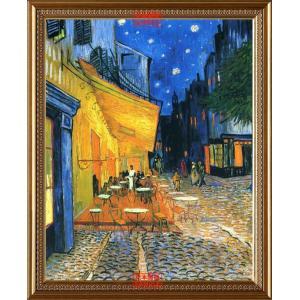 絵画風 壁紙ポスター フィンセント ファン ゴッホ 夜のカフェテラス 1888年 クレラー・ミュラー美術館  【額縁印刷】  K-GOH-007SG1 (585mm×714mm)|real-inter