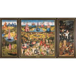 絵画風 壁紙ポスター  ヒエロニムス・ボス 快楽の園 三連祭壇画 1480-1500年頃 プラド美術館 エデンの園 地獄 K-HBS-001S2 (603mm×322mm)|real-inter