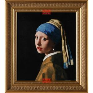 絵画風 壁紙ポスター  ヨハネス・フェルメール 真珠の耳飾りの少女 青いターバンの少女  【額縁印刷】  キャラクロ K-JVM-004S1 (585mm×650mm)|real-inter