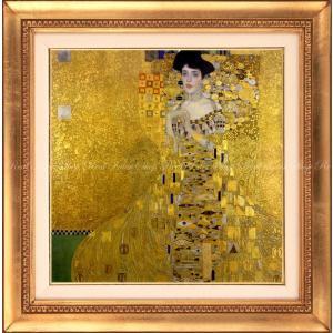 絵画風 壁紙ポスター  グスタフ・クリムト アデーレ・ブロッホ=バウアーの肖像 I 1907年 ノイエ・ガレリエ 【額縁印刷】 K-KLT-002BSGH1 (594mm×599mm)|real-inter