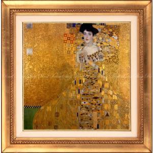 絵画風 壁紙ポスター  グスタフ・クリムト アデーレ・ブロッホ=バウアーの肖像 I 1907年 ノイエ・ガレリエ 【額縁印刷】 K-KLT-002SGH1 (594mm×599mm)|real-inter