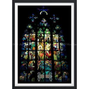 絵画風 壁紙ポスター  ミュシャの窓 絵画 アルフォンス・ミュシャ プラハ聖ヴィート大聖堂 ステンドグラス絵画 【額縁印刷】 K-MCH-013SGF1 (585mm×805mm)|real-inter