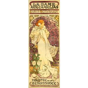 絵画風 壁紙ポスター  アルフォンス・ミュシャ 椿姫 the-lady-of-the-camellias 1896年 アールヌーヴォー ポスター キャラクロ K-MCH-016S2 (290mm×815mm)|real-inter