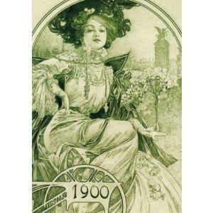 絵画風 壁紙ポスター  アルフォンス・ミュシャ パリ万博の公式晩餐会招待状の一部 1900年 アールヌーヴォー キャラクロ K-MCH-026S1 (585mm×831mm)|real-inter