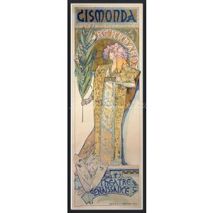 絵画風 壁紙ポスター  アルフォンス・ミュシャ ジスモンダ 1894年 サラ・ベルナール アールヌーヴォー 【額縁印刷】 K-MCH-028SGF1 (576mm×1562mm)|real-inter
