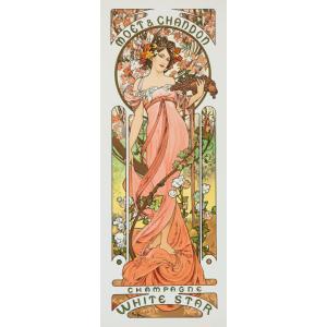 絵画風 壁紙ポスター  アルフォンス・ミュシャ モエ・エ・シャンドン シャンパン・ホワイトスター 1899年 アールヌーヴォー K-MCH-049S2 (291mm×753mm)|real-inter