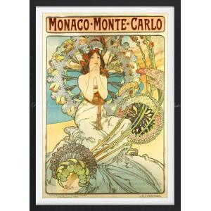 絵画風 壁紙ポスター  アルフォンス・ミュシャ モナコ・モンテカルロ (P.L.M鉄道のポスター) 1897年 【額縁印刷】 キャラクロ K-MCH-050SGF1 (585mm×815mm)|real-inter