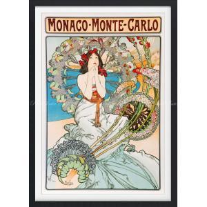 絵画風 壁紙ポスター  アルフォンス・ミュシャ モナコ・モンテカルロ (P.L.M鉄道のポスター) 1897年 【額縁印刷】 キャラクロ K-MCH-051SGF1 (585mm×815mm)|real-inter