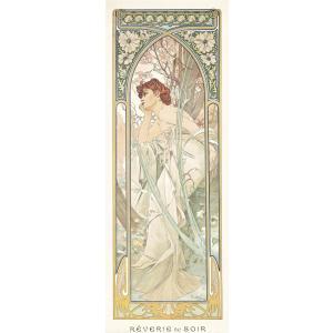 絵画風 壁紙ポスター  アルフォンス・ミュシャ 四つの時の流れ-夕べの夢想 1899年 アールヌーヴォー キャラクロ K-MCH-065S2 (291mm×786mm)|real-inter