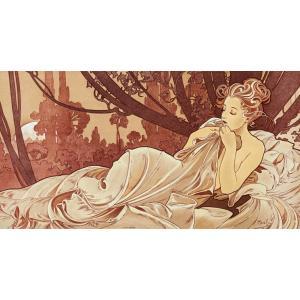 絵画風 壁紙ポスター  アルフォンス・ミュシャ 黄昏 1899年 アールヌーヴォー キャラクロ K-MCH-084S2 (603mm×318mm)|real-inter