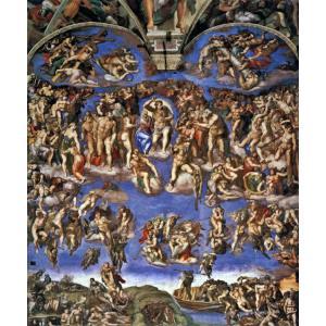 絵画風 壁紙ポスター ミケランジェロ 最後の審判 1537-41年 システィーナ礼拝堂(ヴァチカン) キャラクロ K-MLG-002S2 (494mm×594mm)|real-inter