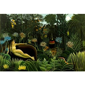 絵画風 壁紙ポスター アンリ・ルソー 夢 1910年 The Dream ニューヨーク近代美術館 キャラクロ K-RSU-003S2 (603mm×407mm)|real-inter