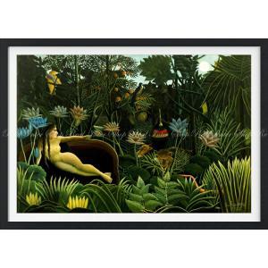 絵画風 壁紙ポスター  アンリ・ルソー 夢 1910年 The Dream ニューヨーク近代美術館 【額縁印刷】 キャラクロ K-RSU-003SGF1 (820mm×585mm)|real-inter