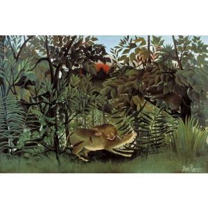 絵画風 壁紙ポスター アンリ・ルソー 飢えたライオン 1905年 キャラクロ K-RSU-006S2 (603mm×399mm)|real-inter
