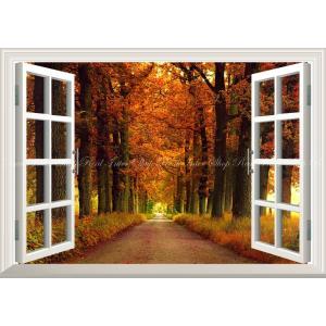 絵画風 壁紙ポスター  -窓の景色- 鮮やかな紅葉の並木道 秋の景色 紅葉の森林浴 癒し 散歩 気分転換 【窓仕様】 キャラクロ KYO-028MA1 (A1版 830mm×585mm)|real-inter