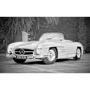 絵画風 壁紙ポスター  メルセデス ベンツ 300SL ロードスター 1957年 モノクロ キャラク...
