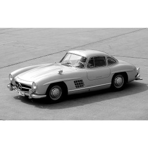 絵画風 壁紙ポスター  メルセデス ベンツ 300SL ガルウィング・クーペ 1957年 モノクロ ...