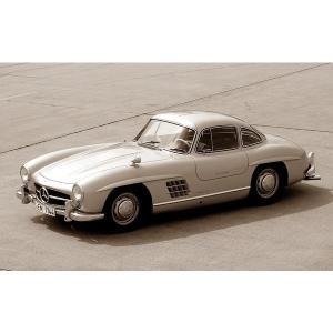 絵画風 壁紙ポスター  メルセデス ベンツ 300SL ガルウィング・クーペ 1957年 セピア キ...