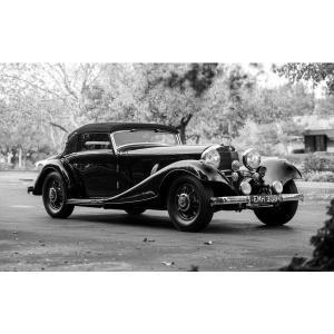絵画風 壁紙ポスター メルセデス ベンツ 500K カブリオレ 1935年 スーパーチャージャー M...