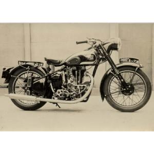 絵画風 壁紙ポスター  メグロ 350 レックス 1955年 ヴィンテージ バイク 単車 キャラクロ MGR-003A2 (A2版 594mm×420mm)|real-inter