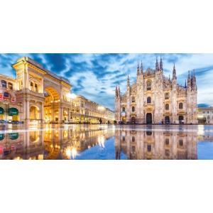 絵画風 壁紙ポスター  ミラノのドゥオーモ ミラノ大聖堂 ドゥオーモ広場 イタリア 世界最大級のゴシック建築 パノラマ MLNO-001S1 (1152mm×576mm) real-inter