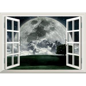絵画風 壁紙ポスター  -窓の景色- 月 ビッグムーン ズームアップ 地平線 天体 神秘 癒し パワー 【窓仕様】 MON-007MA2 (A2版 594mm×420mm)|real-inter
