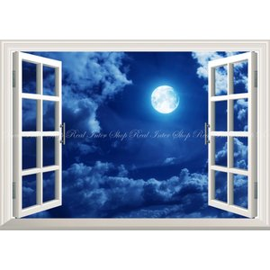 絵画風 壁紙ポスター  -窓の景色- 月 スーパームーン Super Luna 満月の夜 天体 神秘 癒し 【窓仕様】 MON-008MA2 (A2版 594mm×420mm)|real-inter