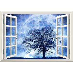 絵画風 壁紙ポスター  -窓の景色- スーパームーンのクローズアップと大木 月 天体 神秘 癒し 【窓仕様】 キャラクロ MON-013MA2 (A2版 594mm×420mm)|real-inter