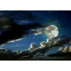 絵画風 壁紙ポスター  流れ雲と星空のスーパームーン 月 満月 スーパールナ 神秘 癒し キャラクロ MON-021A2 (A2版 594mm×420mm) real-inter
