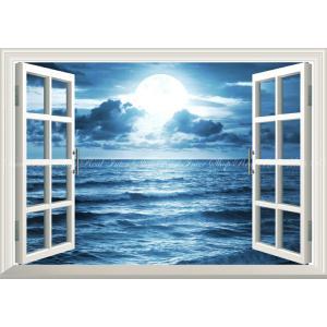 絵画風 壁紙ポスター  -窓の景色- 神秘的なスーパームーンライト 月光 波 月 満月 海 神秘 癒し 【窓仕様】 MON-023MA2 (A2版 594mm×420mm)|real-inter