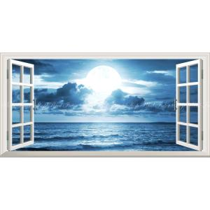 絵画風 壁紙ポスター  -窓の景色- 神秘的なスーパームーンライト 月光 波 月 満月 海 神秘 癒し パノラマ 【窓仕様】 MON-023MS1 (1152mm×576mm)|real-inter